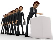 3d men in line of voting concept Royalty Free Stock Photo