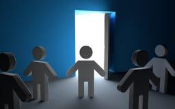 3d men looking at light through open door Stock Photography