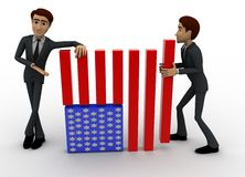 3d men making flag of united states of america concept Royalty Free Stock Images