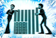 3d men making flag of united states of america illustration Royalty Free Stock Image