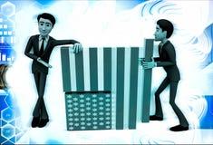 3d men making flag of united states of america illustration Stock Image