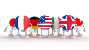 3d men in national flags. Group of Seven Stock Image