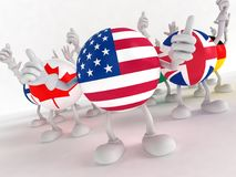 3d men in national flags Royalty Free Stock Photography