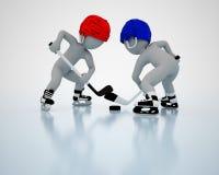 3D men play ice hockey Stock Image