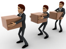 3d men in queue with delivery boxes concept Royalty Free Stock Image