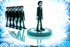3d men in queue and standing on target board one by one illustration Stock Photo