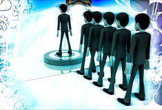 3d men in queue and standing on target board one by one illustration Royalty Free Stock Photography