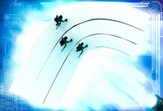 3d men on race track illustration Stock Photo