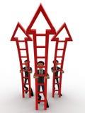 3d men ready climb up arrow stairs concept Royalty Free Stock Photos
