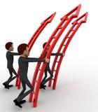 3d men ready climb up arrow stairs concept Stock Photos