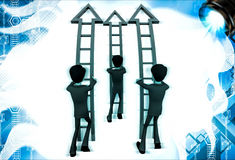3d men ready climb up arrow stairs illustration Stock Images