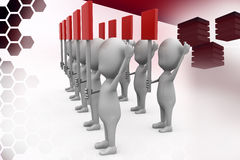 3d men with red sign board illustration Stock Photo