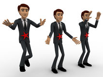3d men with red star concept Royalty Free Stock Photos