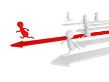 3d men running. competition human race concept. 3d render illustration Stock Photos