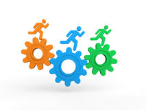 3d men running on gears Royalty Free Stock Photography