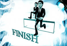 3d men running over hurdles to reach finish line illustration Stock Photos
