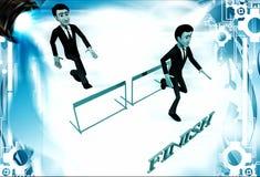 3d men running over hurdles to reach finish line illustration Stock Images
