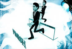 3d men running over hurdles to reach finish line illustration Stock Photography