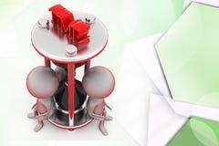 3d men sand clock illustration Royalty Free Stock Photos