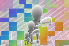 3d men searching illustration Stock Photo