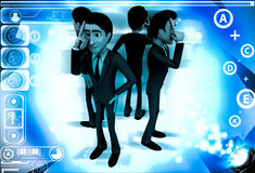 3d men in serious thinking illustration Royalty Free Stock Images