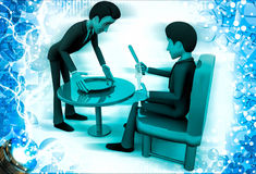 3d men serving and having food illustration Stock Photography