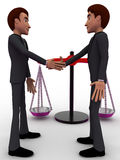 3d men shaking hands with weight balance scale concept Stock Photos