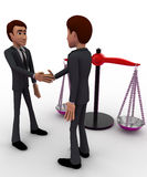 3d men shaking hands with weight balance scale concept Stock Photo