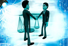3d men shaking hands with weight balance scale Royalty Free Stock Photography