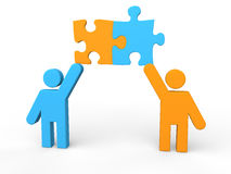 3d men sharing puzzle pieces Stock Photo