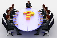 3d men sitting around table made of puzzle pieces and question mark on it concept Stock Photos