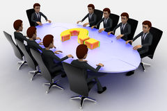 3d men sitting around table made of puzzle pieces and question mark on it concept Stock Image