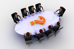 3d men sitting around table made of puzzle pieces and question mark on it concept Stock Photo