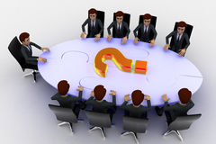 3d men sitting around table made of puzzle pieces and question mark on it concept Stock Images