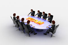 3d men sitting around table made of puzzle pieces and team text on it concept Royalty Free Stock Image