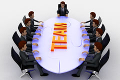 3d men sitting around table made of puzzle pieces and team text on it concept Stock Photo