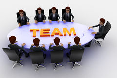 3d men sitting around table made of puzzle pieces and team text on it concept Royalty Free Stock Images