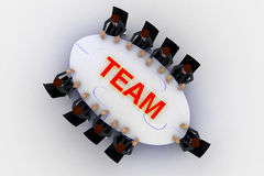 3d men sitting around table made of puzzle pieces and team text on it concept Stock Photography