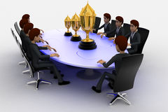 3d men sitting around table made of puzzle pieces and  thre golden cups on it concept Stock Image