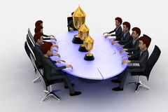 3d men sitting around table made of puzzle pieces and  thre golden cups on it concept Royalty Free Stock Photo