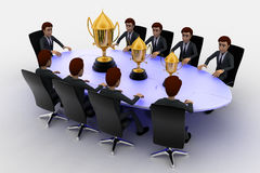 3d men sitting around table made of puzzle pieces and  thre golden cups on it concept Stock Photo