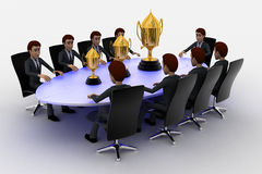 3d men sitting around table made of puzzle pieces and  thre golden cups on it concept Stock Images