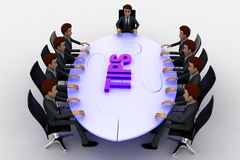 3d men sitting around table made of puzzle pieces and tips on it concept Royalty Free Stock Photo