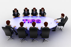 3d men sitting around table made of puzzle pieces and tips on it concept Royalty Free Stock Image