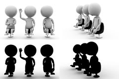 3d men sitting Concept Collections With Alpha And Shadow Channel Royalty Free Stock Images