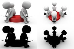 3d men sitting on disk concept collections with alpha and shadow channel Stock Photos