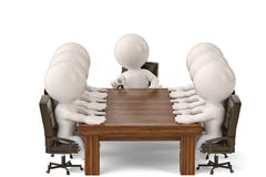 3d men sitting at a table and having business meeting.3D illustr. Ation Stock Photos