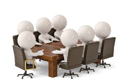 3d men sitting at a table and having business meeting.3D illustr. Ation Stock Images