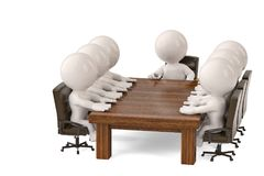 3d men sitting at a table and having business meeting.3D illustr. Ation Royalty Free Stock Images