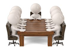 3d men sitting at a table and having business meeting.3D illustr. Ation Royalty Free Stock Photo